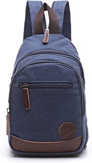 Lightweight Mini Canvas Backpack for Women Girls Purse Small Rucksack Sling Bag (Small, Navy Blue 2)