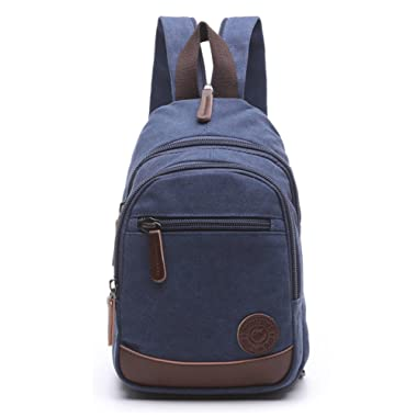 Lightweight Mini Canvas Backpack for Women Girls Purse Small Rucksack Sling Bag (Small, Navy Blue 2)