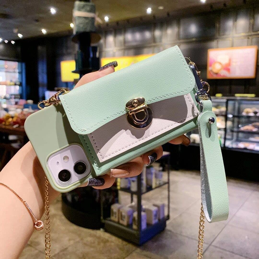 ISYSUII Crossbody Case for Samsung Galaxy S10 Wallet Case with Card Holder Slots Detachable Wrist Strap Shoulder Chain Leather Protective Purse Case Magnetic Cover for Girl Women,Green