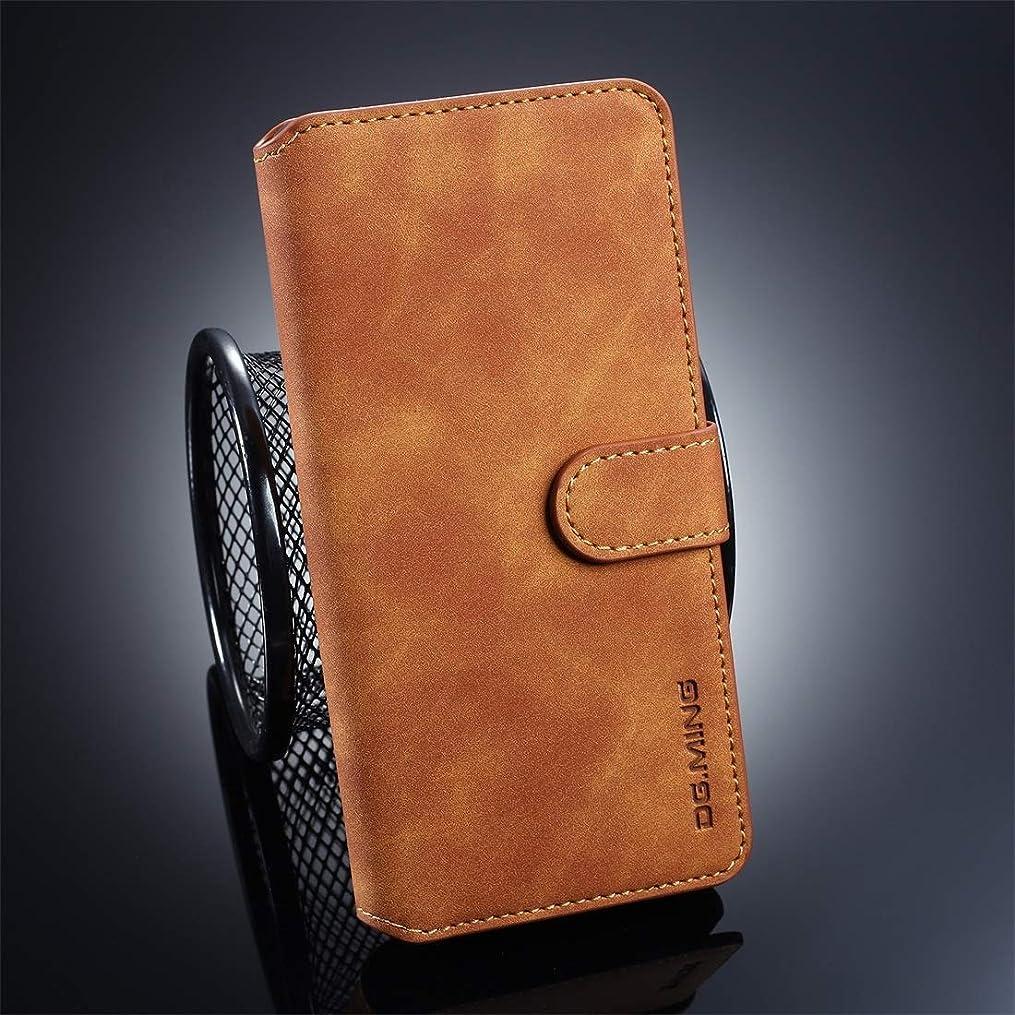 トレーダーリンケージ反毒WTYD 電話アクセサリー Huawei P30 Pro用レトロオイルサイド水平フリップ保護ケース、ホルダー&カードスロット&財布付き 電話使用 (Color : Brown)