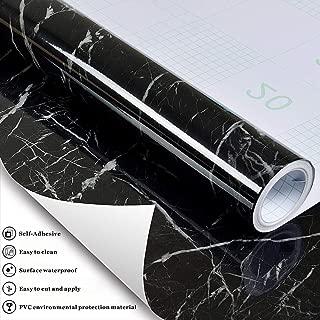 Z401 Look Gloss Marble Contact Paper Black/Gray Granite Effect Vinyl Self Adhesive Peel Stick Wall Murals Kitchen Countertop Cabinet Furniture Renovated16.1