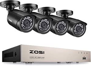 ZOSI H.265+ 1080P 8-Channel Surveillance Camera System,2MP CCTV DVR Recorder and 4X2MP(1920TVI) Bullet Security Cameras 90...