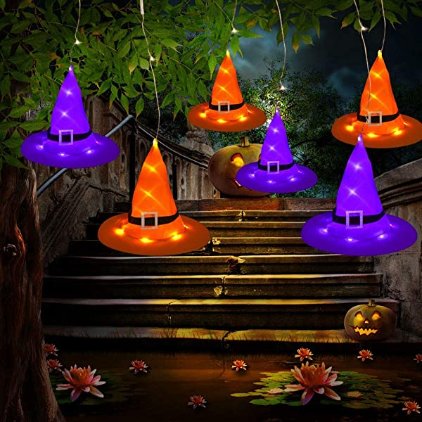 Tcamp Halloween Decorations Outdoor Hanging Lighted Glowing 6PCS Witch Hats With LED Halloween Lights String For Outdoor Yard Tree 8 Lighting Modes