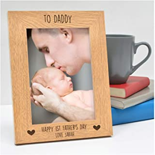 "PERSONALISED 1st Fathers Day Gifts for Dad, Daddy, Grandad, Him - First Fathers Day from Baby Son, Baby Daughter, Little Girl - Wooden Photo Frame Gifts - 5"" x 7"" or 6"" x 4"" - Landscape or Portrait"
