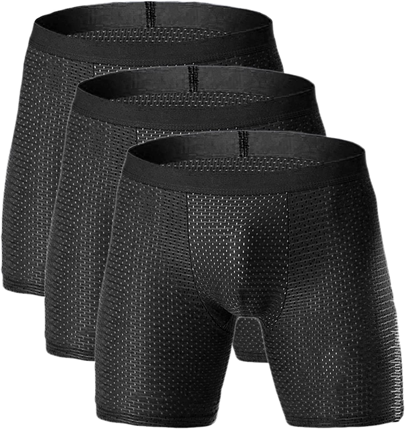 Andongnywell Men's Underwear Boxer Briefs Pack Soft Breathable Underpants Trunks quick-drying panties 3 Pack