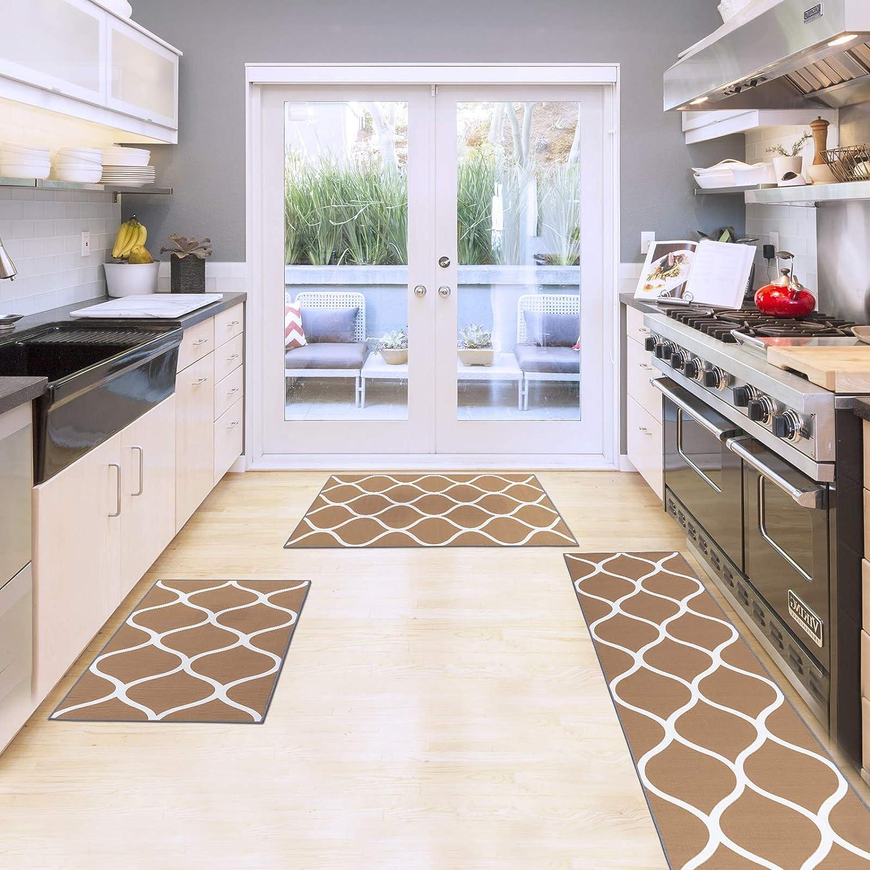 Carvapet 3 Pieces Moroccan Trellis Rugs Special sale item Outlet SALE Non-Slip Set Thr Kitchen