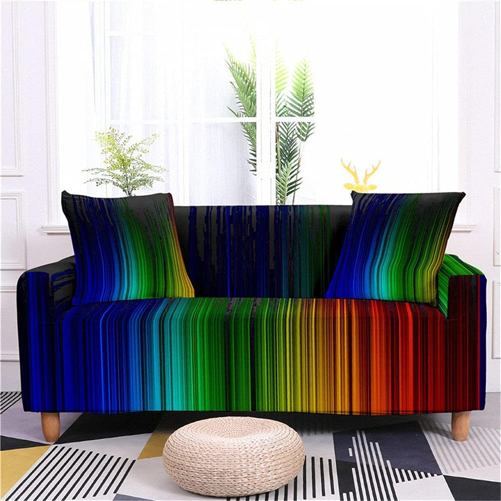 Couch Ranking TOP1 Cover Stretch Sofa Slipcovers Rainbow Modern Creative Max 85% OFF Vert