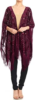 Anna-Kaci Women Oversize Hand Beaded Fringed Sequin Evening Shawl Wrap Cover Up