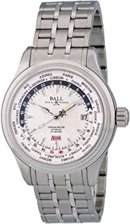 Ball Trainmaster Worldtime Automatic Stainless Steel Mens Watch Silver Dial Calendar GM2020D-SCJ-WH