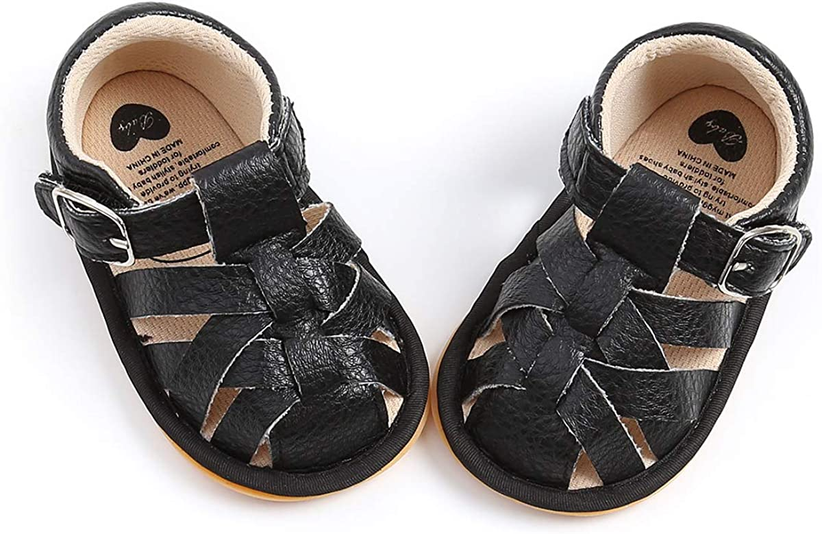 TAREYKA Infant Baby Boys Girls Sandals Closed-Toe PU Leather Soft Anti-Slip Rubber Sole Infant Summer Outdoor Shoes Toddler First Walkers Flat Shoes