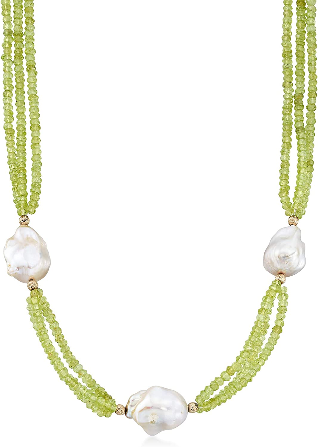 Ross-Simons Cultured Baroque Pearl and 70.00 ct. t.w. Peridot Triple-Strand Necklace