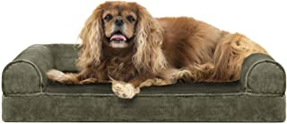 Furhaven Pet Dog Bed   Cooling Gel Memory Foam Orthopedic Faux Fur & Velvet Sofa-Style Couch Pet Bed for Dogs & Cats, Dark...