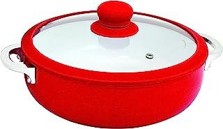 IMUSA USA CHI-00071R 3.2Qt Red Ceramic Nonstick Caldero (Dutch Oven) with Silicone Rim & Glass Lid