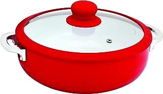 IMUSA USA CHI-00071R 3.2Qt Red Ceramic Nonstick Caldero (Dutch Oven) with Silicone Rim..