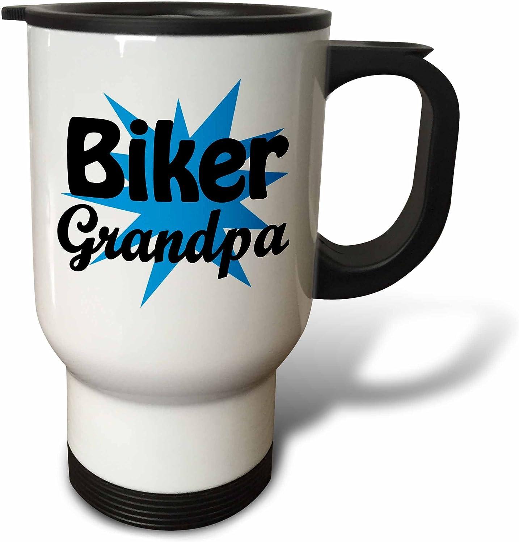 3dRose Biker Grandpa, Blue, Travel Mug, 14-Ounce, Stainless Stee