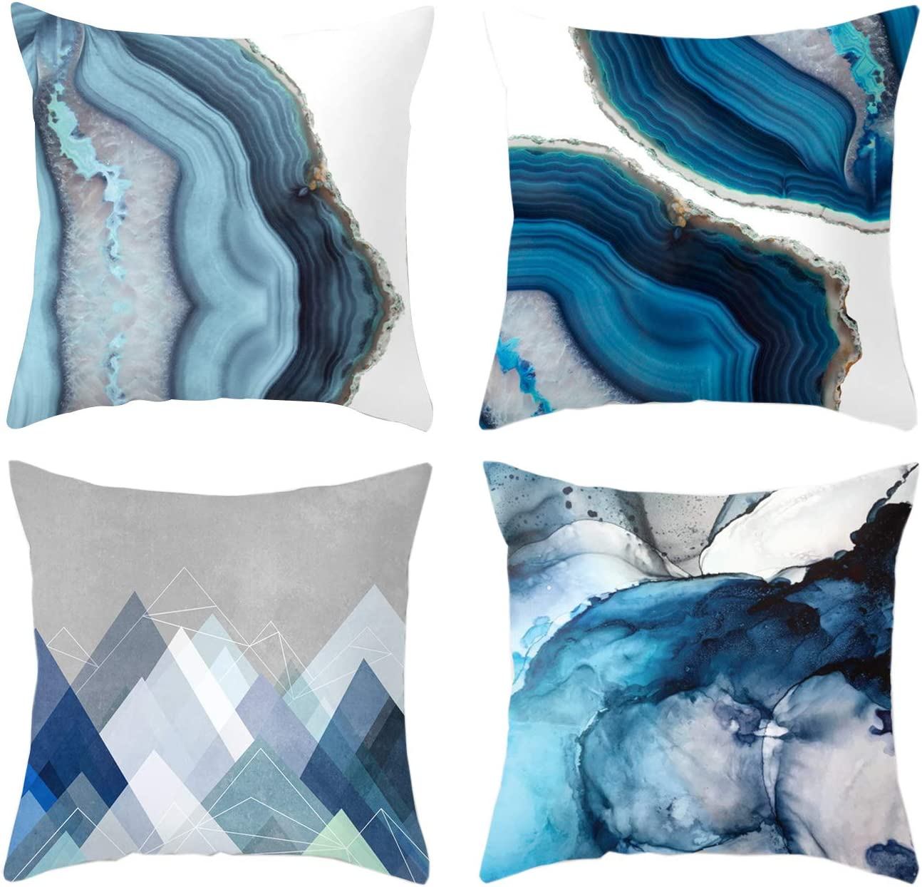 Pack of 4 Summer Navy Blue Super beauty product restock quality top! Covers Texture Pillow Max 68% OFF Throw Sea Peach