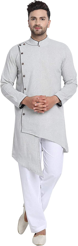 SKAVIJ Men's Tunic Cotton Angrakha Kurta Pajama Party Wear Dress Suit