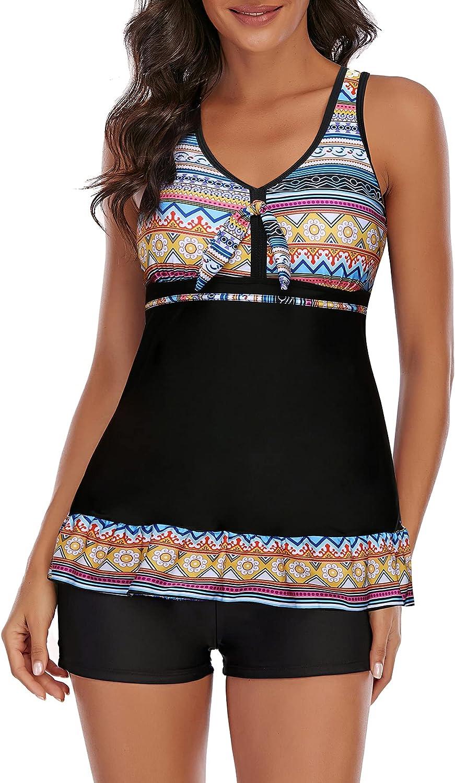 Zando Plus Size Swimsuits for Women Two Piece Tankini Top Boyshort Skirted Bathing Suits Tummy Control Swimwear