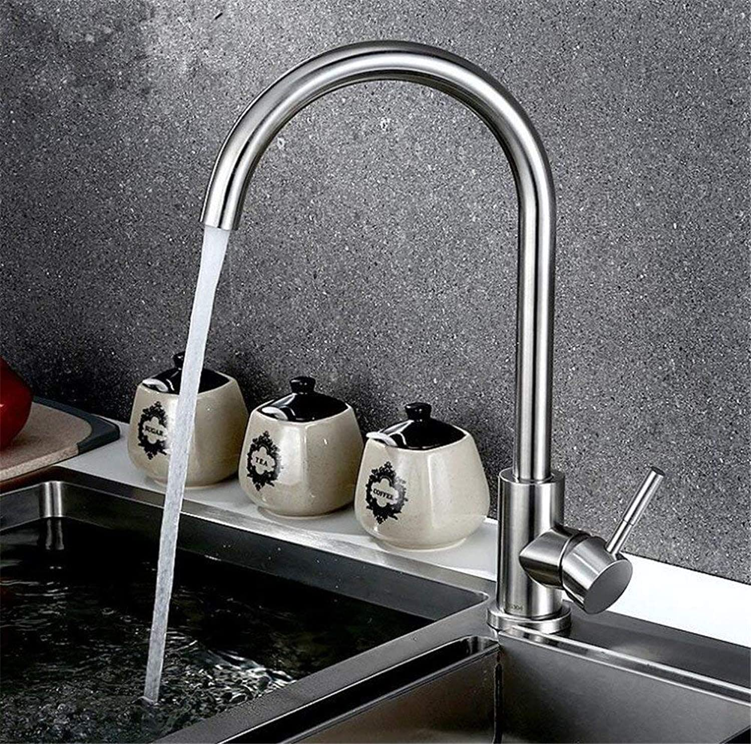 Oudan Kitchen Faucet Mixing Valve to Full Hot and Cold Copper Body 304 Stainless Steel Cold Vegetables Basin Sink Single Cold redatable Ceramic Valve Core (color   -, Size   -)