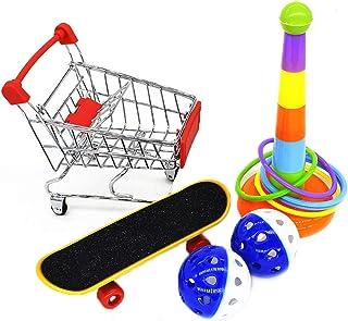 1 uppsättning papegoja leksaker mini shoppingvagn interaktiva leksaker, träningsringar papegoja träningsaktivitet skateboa...