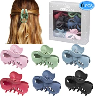 Hair Claw Clips 6 Colors, EAONE Bow Jaw Clip Stylish Jaw Clips Non Slip Hair Clip Clamps Styling Accessories for Women Girls,6 Pieces (Gift Box Packaged)