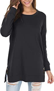 Viracy Women's Crewneck Button-up Ruched 3/4 Roll Sleeve Tunic Henley Shirt