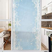 Decorative Window Film,No Glue Frosted Privacy Film,Stained Glass Door Film,Abstract Christmas Themed Snowflake Pattern on The Soft Colored Background Image,for Home & Office,23.6In. by 35.4In