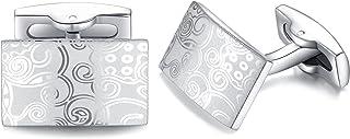 HONEY BEAR Cufflinks for Men - Silver Stainless Steel Figured Pattern, Shirt Wedding Gift