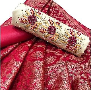 BELLUXA Salwar Suit Dress Material Cotton Khatli Handwork With Banarasi Jacquard Dupatta For Women And Girls Cream XLC118