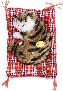 Zerodis Simulation sovande kattunge leksaker med mjuk matta plyschleksaker presentdekoration (svart/brun)