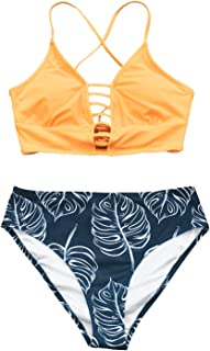 CUPSHE Women's Yellow and Leaves Print Lace Bikini Set Triangle Thong Swimwear