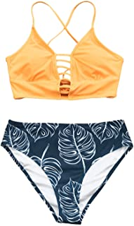 CUPSHE Women's Bikini Swimsuit Floral Print Lace Up Multi Color Strappy Two Piece Bathing Suit