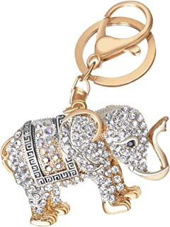 Women's Elephant Keychain Gold Plated Bag Charm Cute Car Key Ring Crystal Purse Pendant #5161