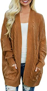 Women's Oversize Open Front Long Sleeve Cardigan Sweaterst Cable Knit Boyfriend Loose Outwear with Pockets