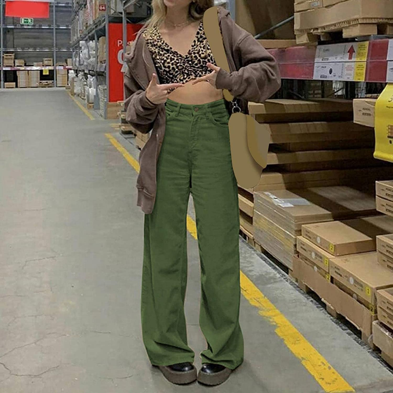 Fudule Fashion Y2K Pants for Women High Waisted Ribbed Trousers Vintage Brown Pants Wide Leg Baggy Pants Y2K Streetwear