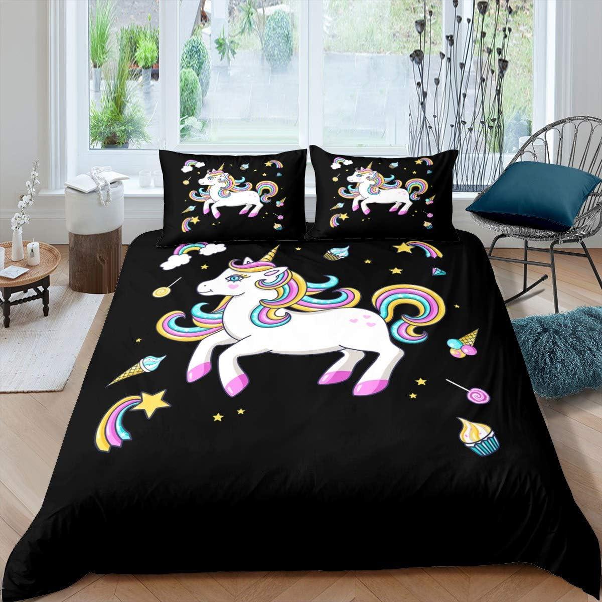 Feelyou Unicorn Save money Duvet Cover Girly Set Magic Horse Many popular brands Dreamy Bedding
