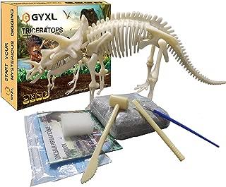 GYXL Dino Toy Dig Kit, DIY Dinosaur Fossil Toys, Kids Science Education Dinosaur Assembly Kit, Best Boys and Girls STEM Dinosaur Toys Gift.(Triceratops)