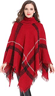HITOP Womens Dress Ponchos, Boho Loose Tassel Plaid Poncho Turtleneck Jumper Knit Oversized Pullover Sweater Tops for Women