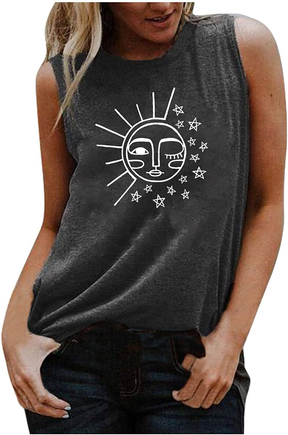 Tank Tops for Women Loose Fit,Womens Summer Top Graphic Printed Shirts Sleeveless Blouse Soft Workout Tee