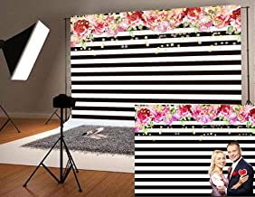 Qian Photography Backdrops Black White Stripe Background Pink Rose Flower Birthday Party Wedding Photo Studio Booth 9x6FT