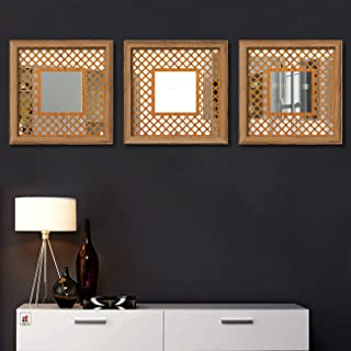 Art Street Decorative Wall Mirror Block Design Wooden Brown Color Set of 3 Square Shape Mirror for Home Decoration & Wall ...