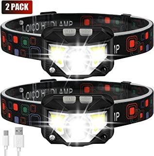 Headlamp Flashlight, MOICO 1000 Lumen Ultra-Light Bright LED Rechargeable Headlight with White Red Light, 2 Pack Waterproof Motion Sensor Head Lamp, 8 Modes for Outdoor Camping Cycling Running Fishing
