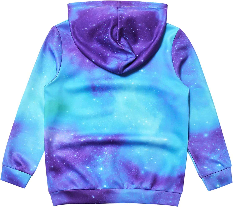 Kids Girls Unicorn Hoodie with Pockets Long Sleeve Pullover Sweatershirts
