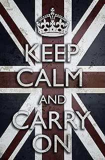 Buyartforless Work Framed Keep Calm and Carry On Union Jack British Flag (Motivational Art Poster Print, White