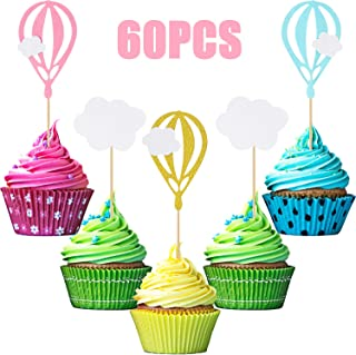 60 Pieces Hot Air Balloon Cupcake Toppers White Cloud Cupcake Toppers Picks for Baby Shower Birthday Wedding Party Decoration