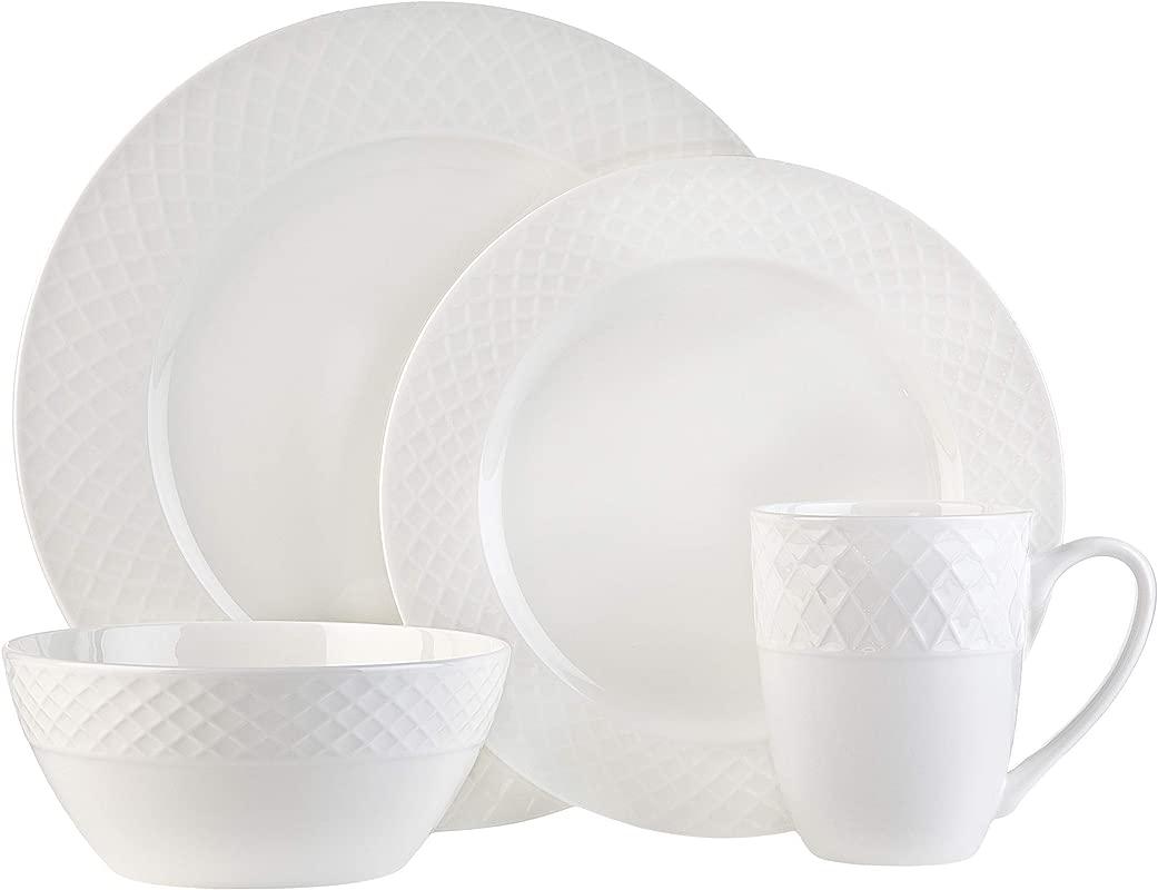 White Bone China 16 Piece Dinnerware Set Stratford By Godinger Service For 4