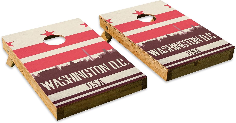 Washington D.C. State Flag Skyline Design  Tailgate Cornhole Board Set with 8 Bags