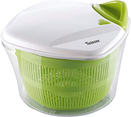 Essoreuse à Salade et Légumes Grande Capacité (5L) - Essorage Efficace et Facile avec Nouveau Système de Poignée - Design Innovant avec Grille d'Evacuation d'Eau - 2 en 1: Utilisable en Saladier
