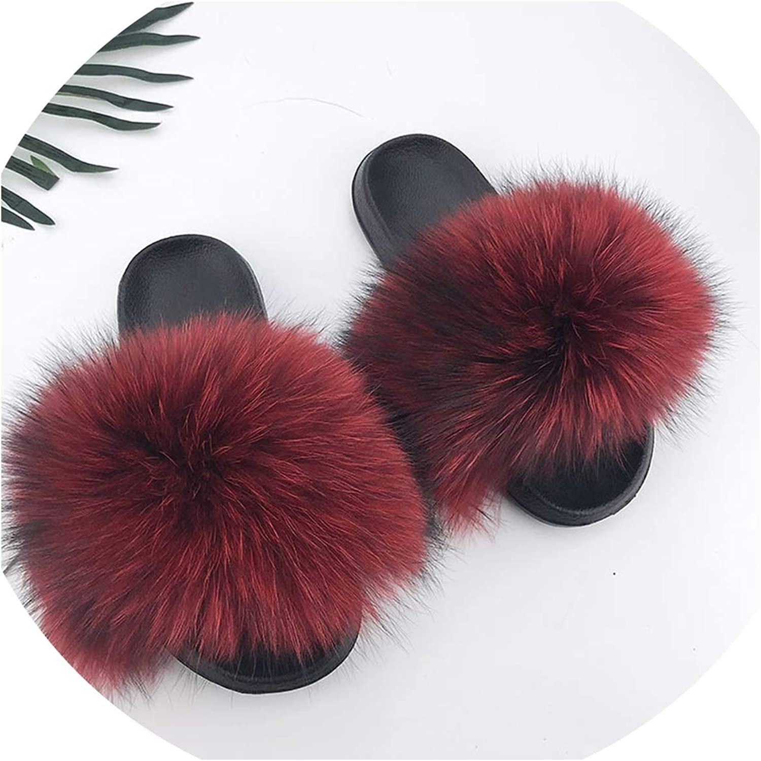 Just XiaoZhouZhou 28 colors Real Fur Slippers Women Fox Fluffy Sliders Comfort with Feathers Furry Summer Flats Sweet Ladies shoes Plus Size 36-45,6,10.5
