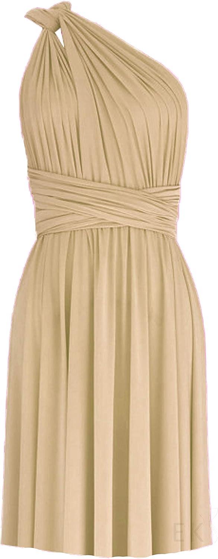 EK Infinity Short Dress Bridesmaid Convertible Gown Multi wrap Plus Size Prom Skirt Knee Length Transformer wear